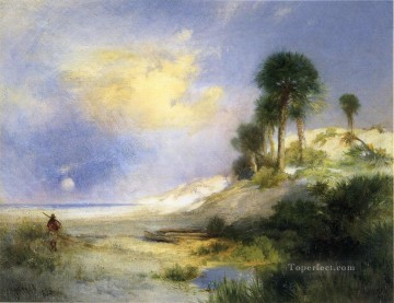 Fort George Island Florida landscape Thomas Moran brook Oil Paintings